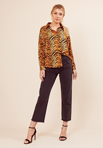 9c3d3eeb86c8 Tiger Print Long Sleeve Oversized Shirt Tiger Print Long Sleeve Oversized  Shirt