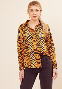 Tiger Print Long Sleeve Oversized Shirt