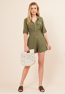 Khaki Utility Cotton Zip Front Playsuit