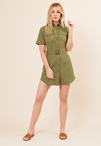 Khaki Linen Look Utility Dress with Self Fabric Belt And Button Detail