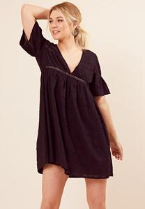 Black Cotton Crochet Trim Smock Dress