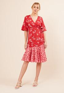 Red Contrast Print Wrap Midi Dress