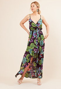 Black Tropical Print Wrap Over Cami Maxi Dress