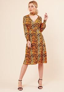 Tiger Print Side Button Detail Wrap Midi Dress