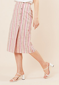 Rainbow Stripe Asymmetric Button Midi Skirt