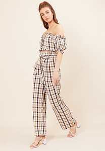 Check Paper Bag Wide Leg Trousers