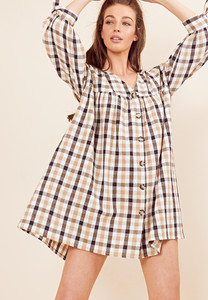 Check Tie Sleeve Button Smock Dress