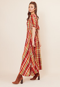 Check Puff Sleeve Maxi Tea Dress