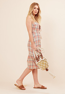 Petite Checked Cotton Ruffle Hem Summer Dress