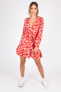 Red  Daisy Print Wrap Dress With Ruffle Hem and Self Fabric Belt