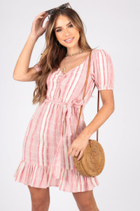 Cotton Stripe Summer Dress With Ruffle Hem and Self Fabric Belt