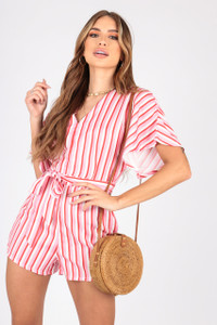 Multi Stripe Playsuit With Grown On Sleeves and Self Fabric Belt