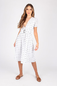 Cotton Dobby Midi Dress With Belt Detail
