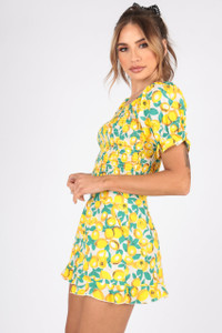 Lemon Print Cotton Shirred Top With Puff Sleeves
