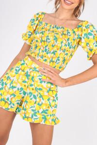Lemon Print Cotton Shorts With Frill Hem