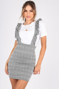 Jersey Check Pinafore With Ruffle Straps