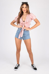 Cotton Stripe Tie Front Crop Top With Puff Sleeves
