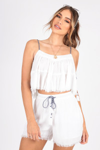 White Chesscloth Co-ord, Tired Cami Shorts With TasselL Trim