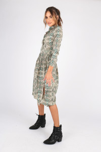Snake Print Midi Shirt Dress With Pleated Skirt and Splits