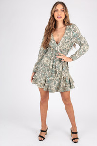 Snake Print Wrap Dress With Long Sleeves, Ruffle Hem and Self Fabric Belt