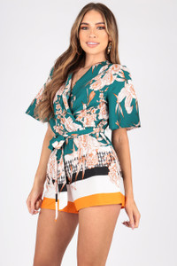 Border Print Playsuit With Kimono Sleeves and Self Fabric Belt