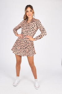 Abstract Animal Print Button Down Shirt Dress With Pleated Hem