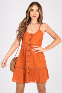 Rust Burn Out Button Down Cotton Dress With Ladder Trim