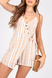 Cotton Stripe Wrap Playsuit With Button Detailing and Self Fabric Tie
