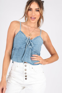 Denim Look Cami Top With Spaghetti Straps and Self Fabric Tie