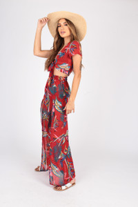 Tropical Print Georgette Co-Ords  Split Trouser