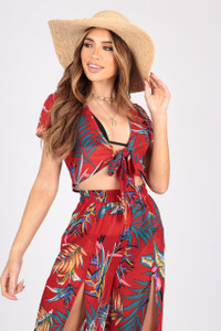 Tropical Print Georgette Co-Ords With Tie Front Top