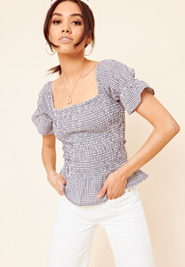 Navy And White Gingham Shirred Peplum Top