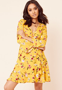 Yellow Floral Print Ruffle Hem Mini Dress