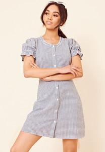 Navy and White Gingham Button Through Tea Dress