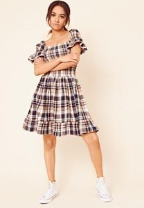Brown Brushed Check Shirred Ruffle Hem Dress