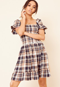 Brown Brushed Check Shirred Ruffle Hem Dress