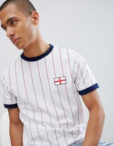 White Retro Ringer T-Shirt England