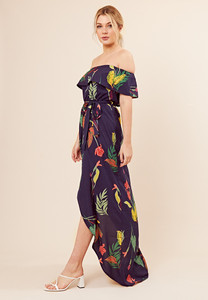 Navy Floral Print Wrap Skirt Maxi Dress