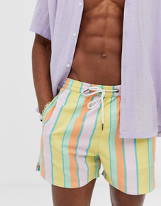 Stripe Print Swim Shorts