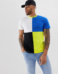 Blue White Colour Block T-shirt
