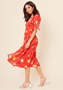 Red Floral Midi Tea Dress with Short Tie Sleeves