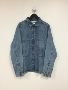 Washed Denim Over shirt With Large Pockets