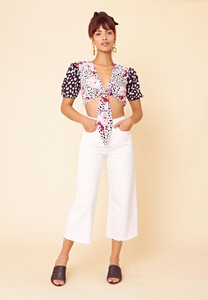 Mix And Match Tie Front Crop Top