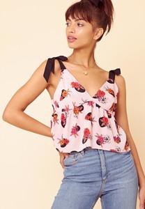 Penelope Spot Floral Contrast Tie Cami Top