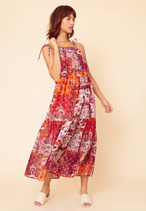Pandora Patchwork Tiered Midaxi Dress