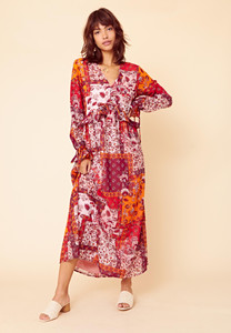 Pandora Patchwork Button Front Maxi Smock Dress