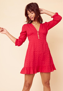 Borderie Plunge Mini Dress