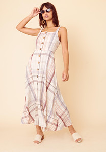 Check Strappy Midaxi Button Front Dress