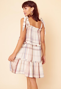 Tie Shoulder Check Tiered Smock Mini Dress