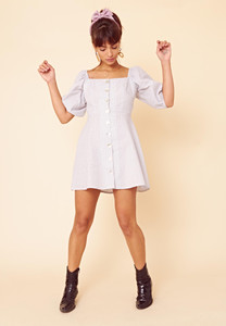 Gingham Puff Sleeve Button Front Tea Dress